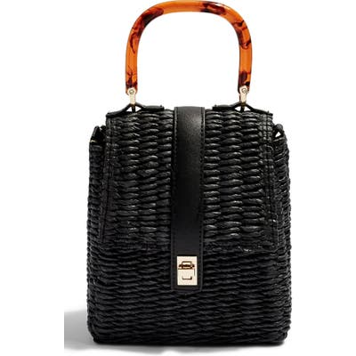 Topshop Skyla Top Handle Straw Grab Bag - Black