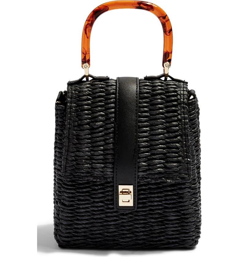 TOPSHOP Skyla Top Handle Straw Grab Bag, Main, color, 001