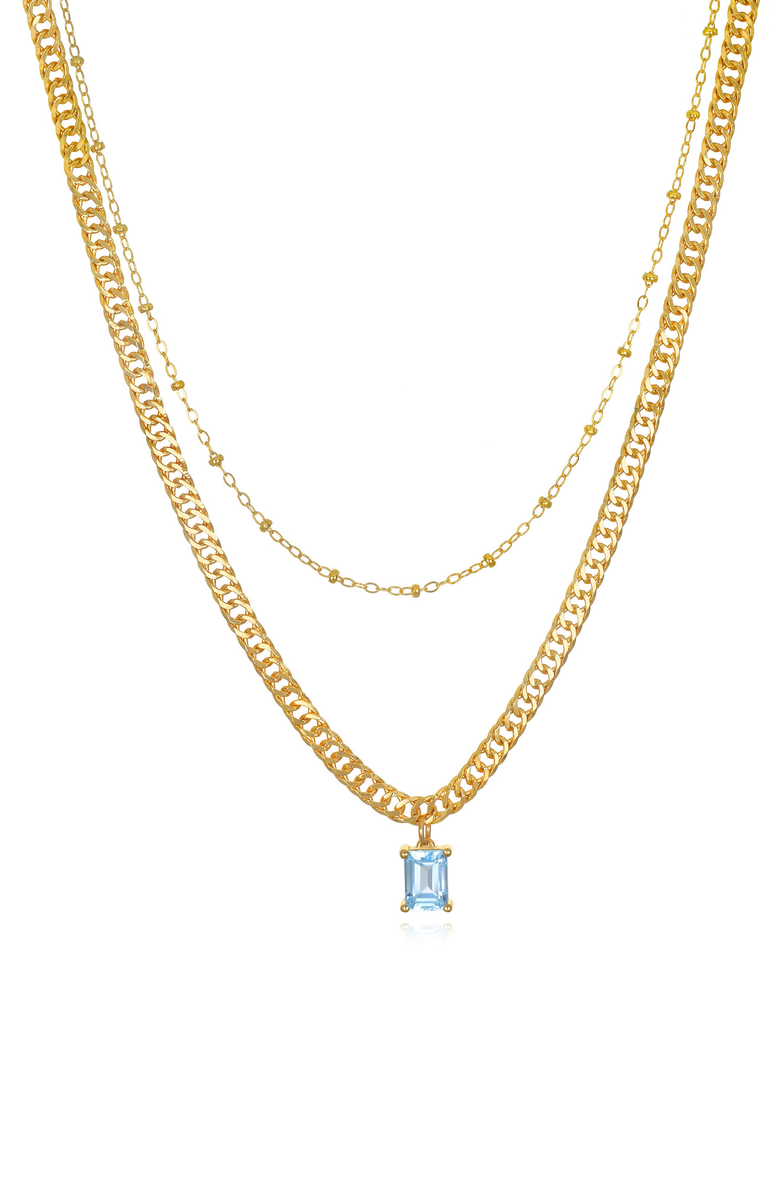 Amelia Rose Layered Curb Necklace in Rose Quartz at Nordstrom