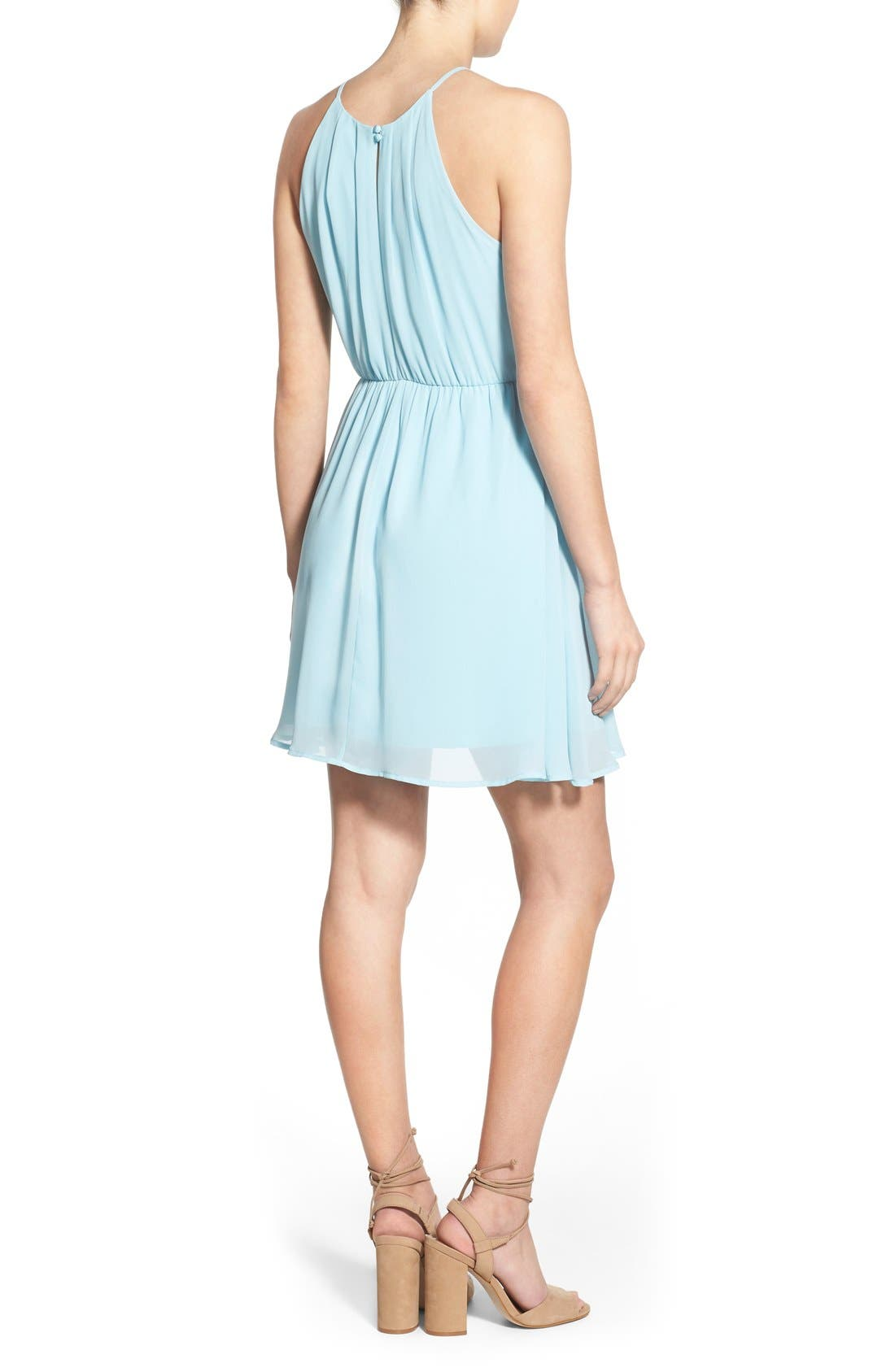 ,                             Blouson Chiffon Skater Dress,                             Alternate thumbnail 156, color,                             450
