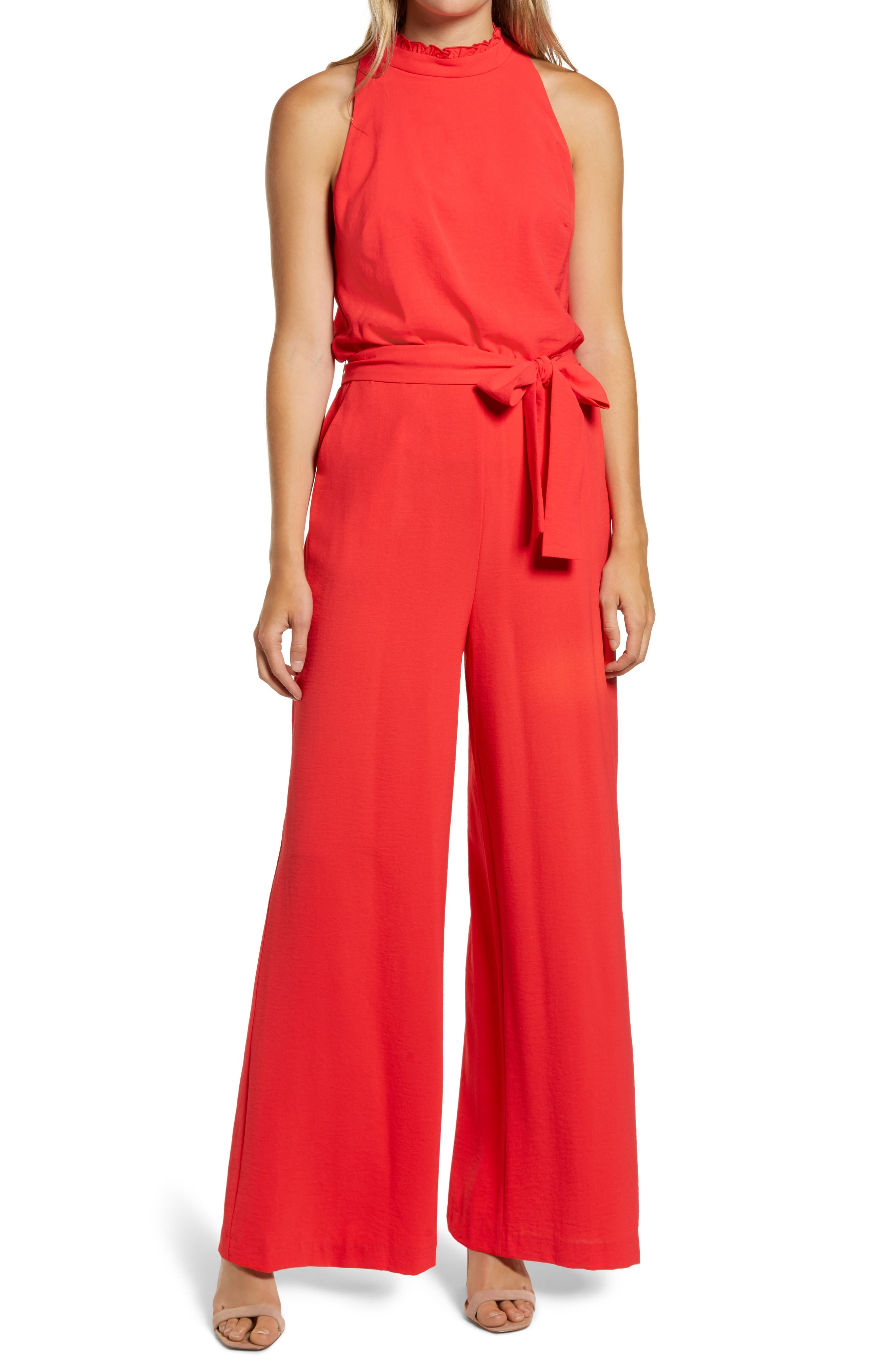 Vince Camuto Sleeveless Ruffle Neck Jumpsuit   Nordstrom