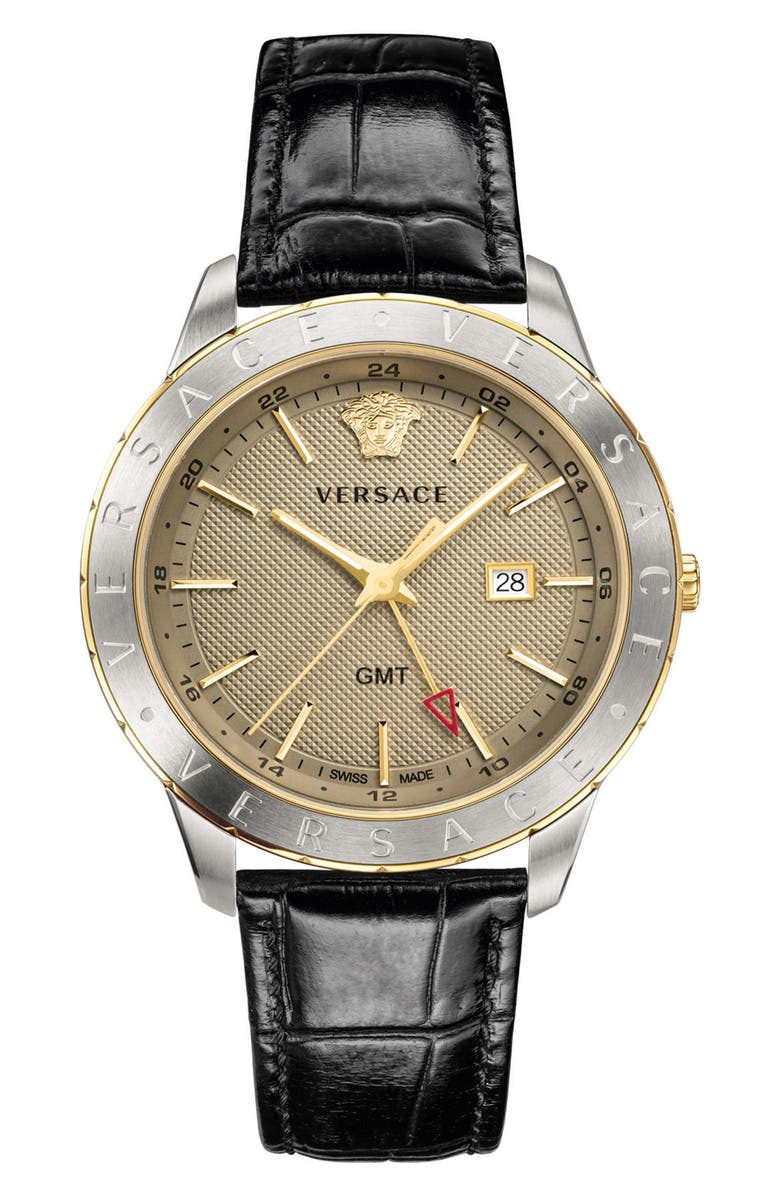 VERSACE Univers Leather Strap Watch, 43mm, Main, color, 001