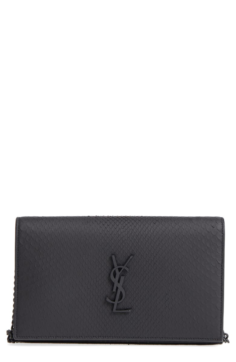 SAINT LAURENT Monogram Genuine Python Wallet on a Chain, Main, color, 001