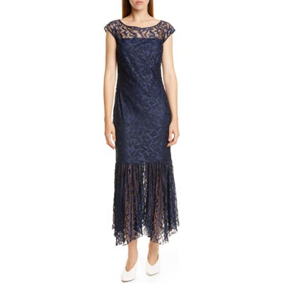 Hugo Kalili Cap Sleeve Handkerchief Hem Lace Dress, Blue