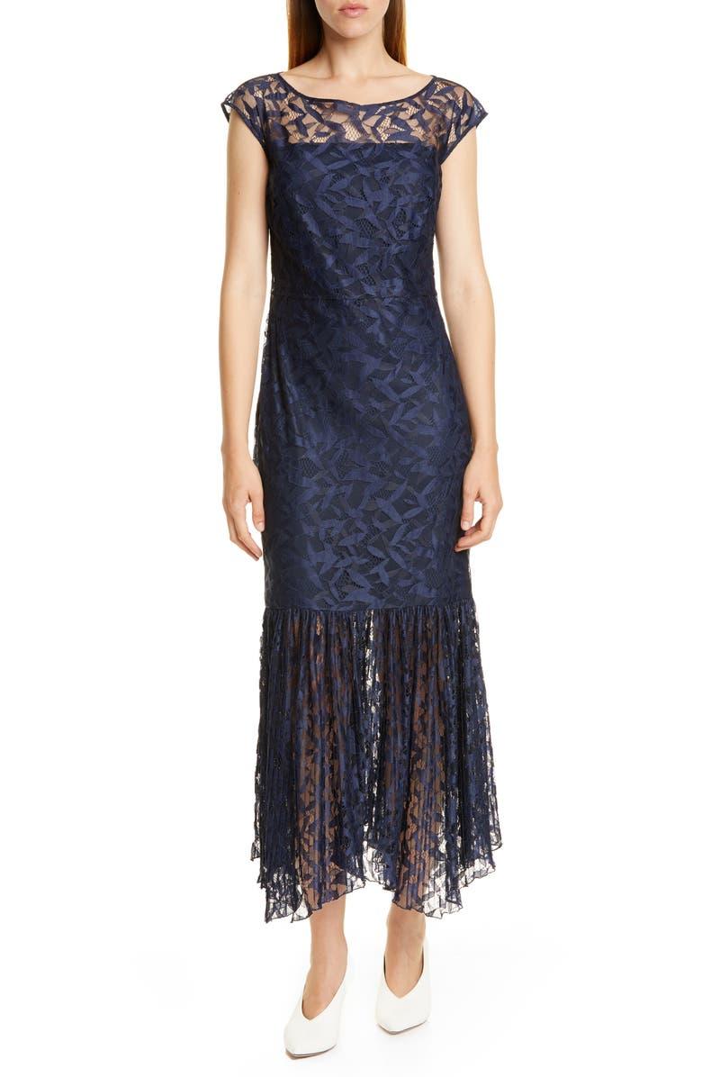 HUGO Kalili Cap Sleeve Handkerchief Hem Lace Dress, Main, color, CLEAN NAVY LACE