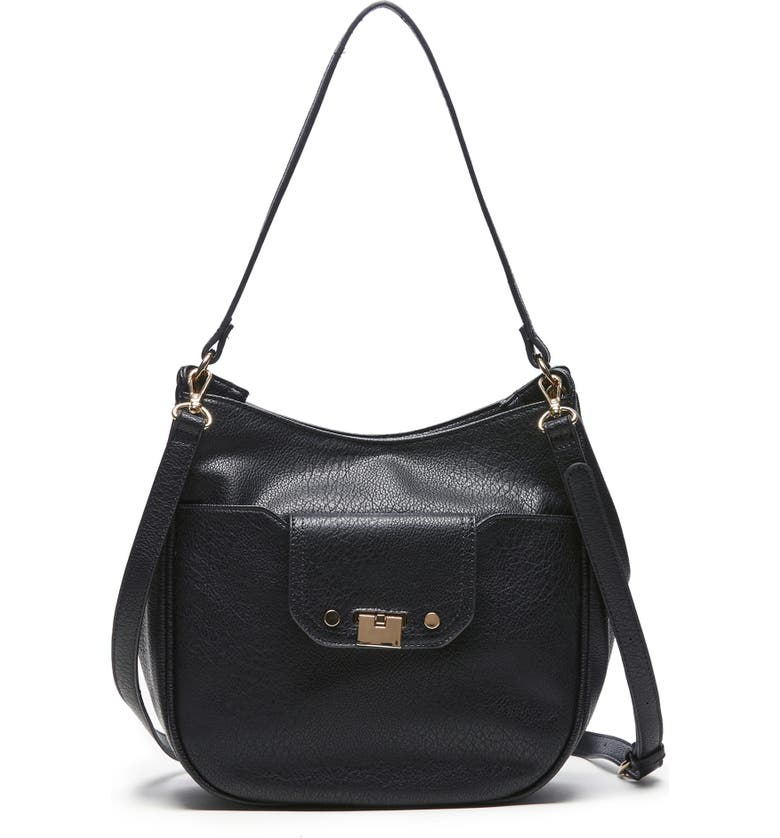 SOLE SOCIETY Kaii Faux Leather Shoulder Bag, Main, color, 001