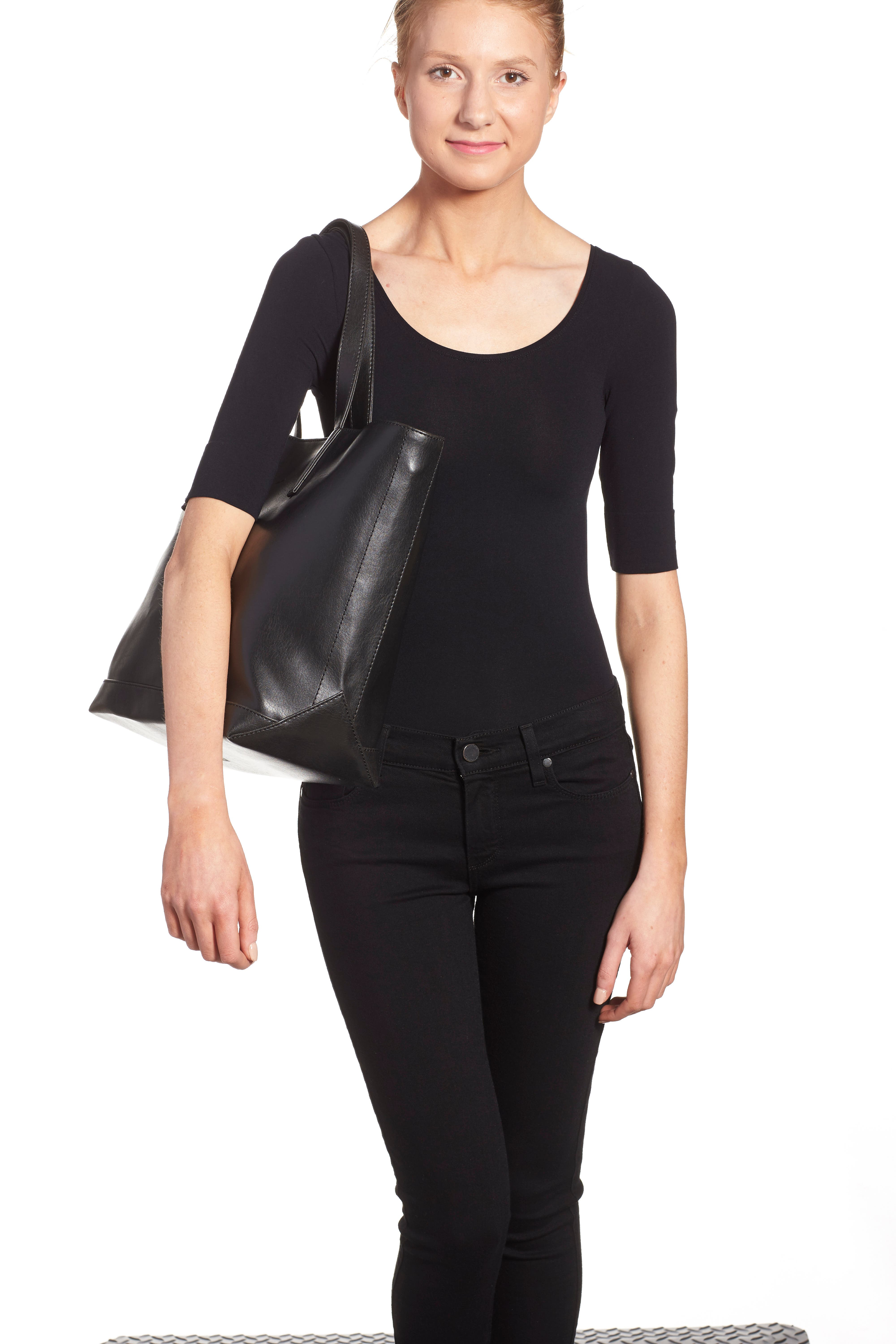 ,                             'Schlepp' Faux Leather Tote,                             Alternate thumbnail 5, color,                             BLACK