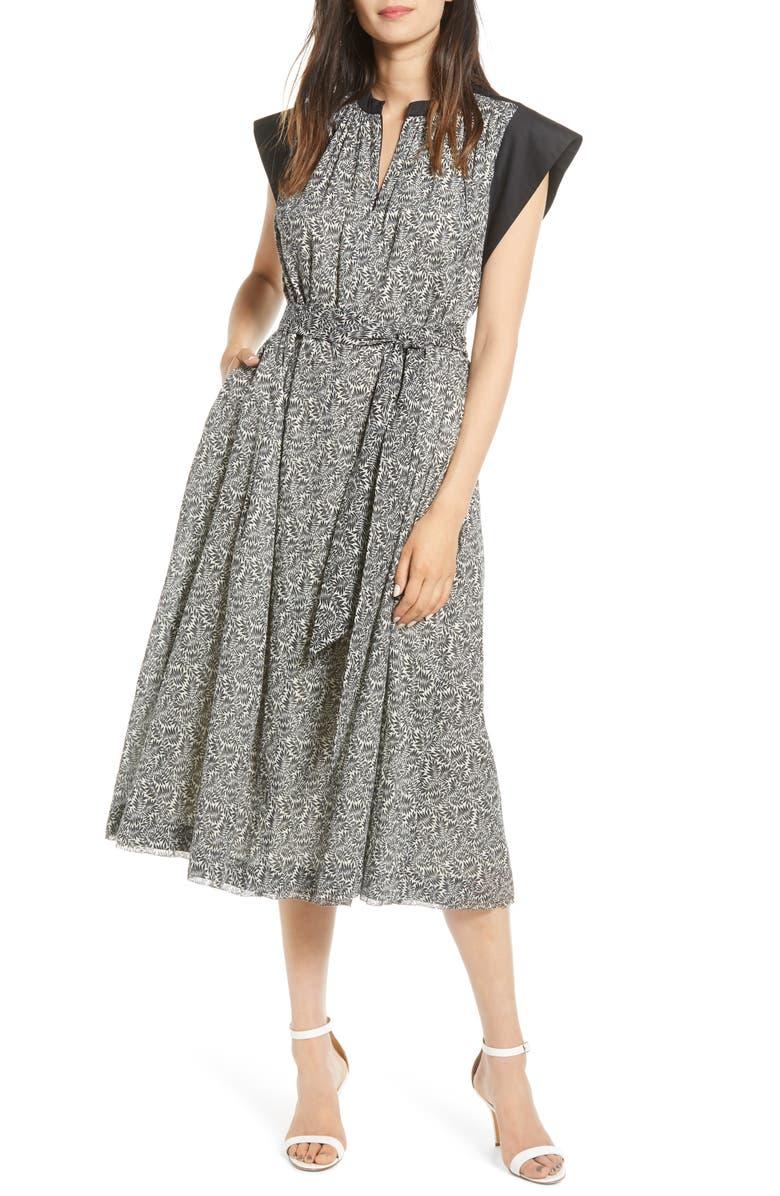 REBECCA MINKOFF Ivah Contrast Cap Sleeve Cotton Dress, Main, color, BLACK MULTI