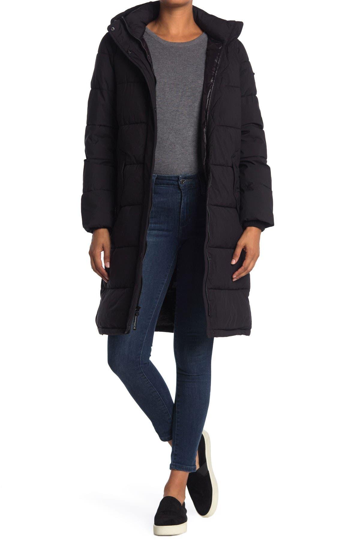 Image of BCBG Long Eco Duvet Hooded Puffer Coat