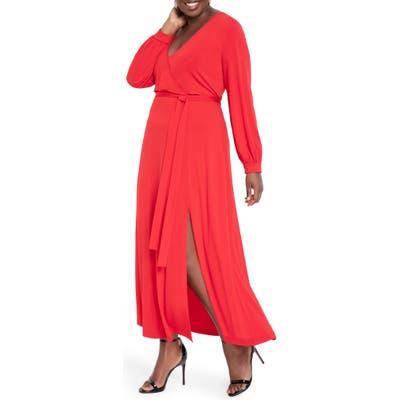 Plus Size Eloquii Wrap Front Long Sleeve Matte Jersey Maxi Dress, Red