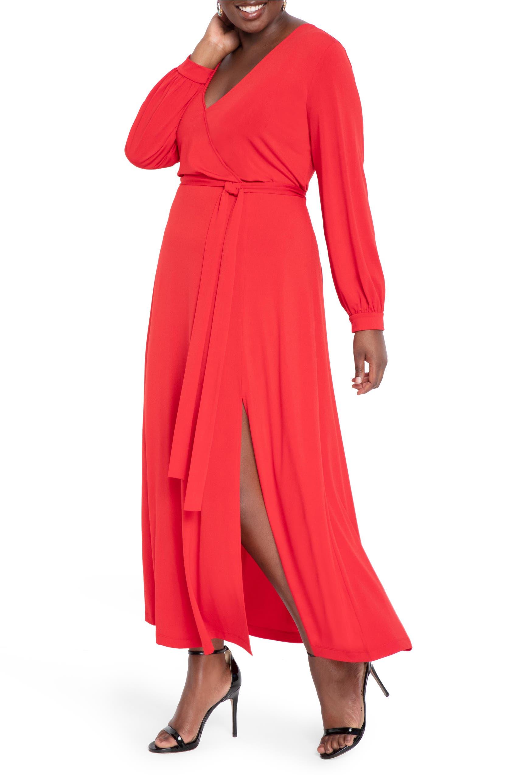 Wrap Front Long Sleeve Matte Jersey Maxi Dress
