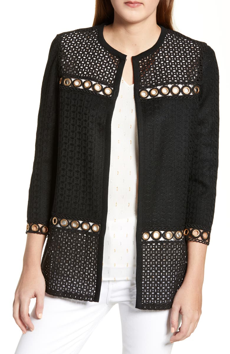 MING WANG Eyelet Panel Jacket, Main, color, BLACK