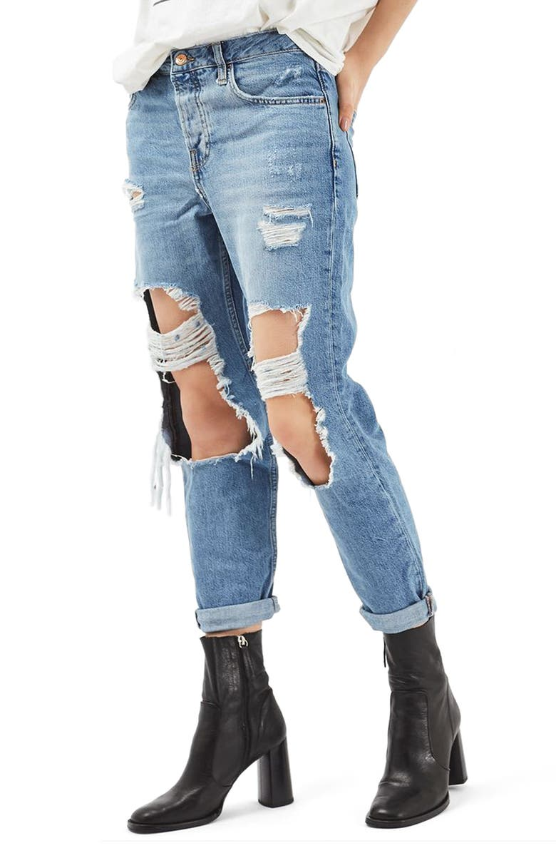 TOPSHOP Hayden Ripped Boyfriend Jeans, Main, color, 400