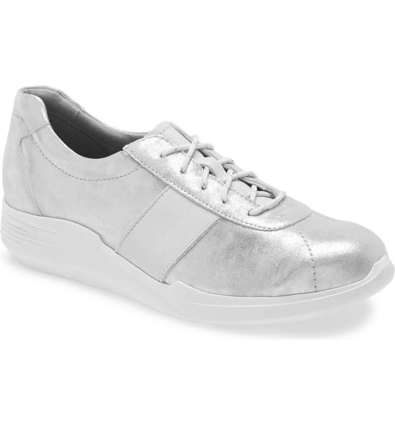 MUNRO Leslie Sneaker, Main, color, SILVER LEATHER