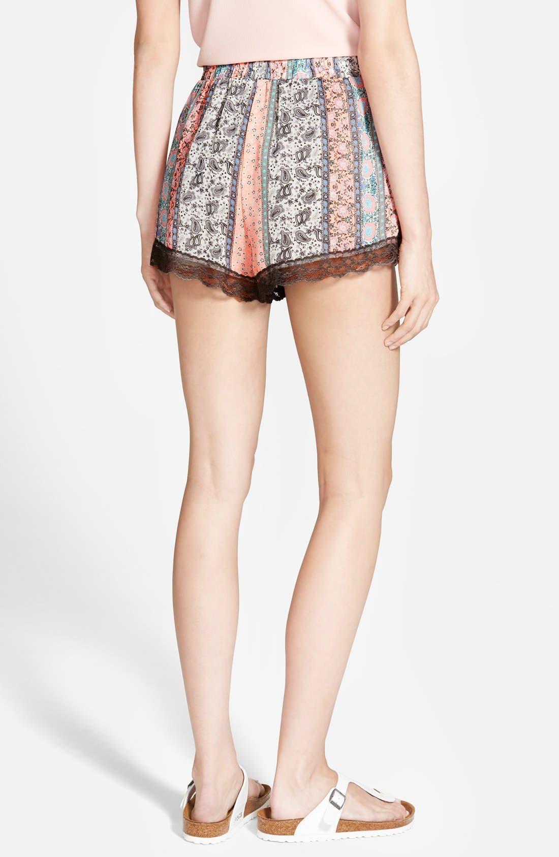,                             Lace Trim Floral Print Shorts,                             Alternate thumbnail 38, color,                             950