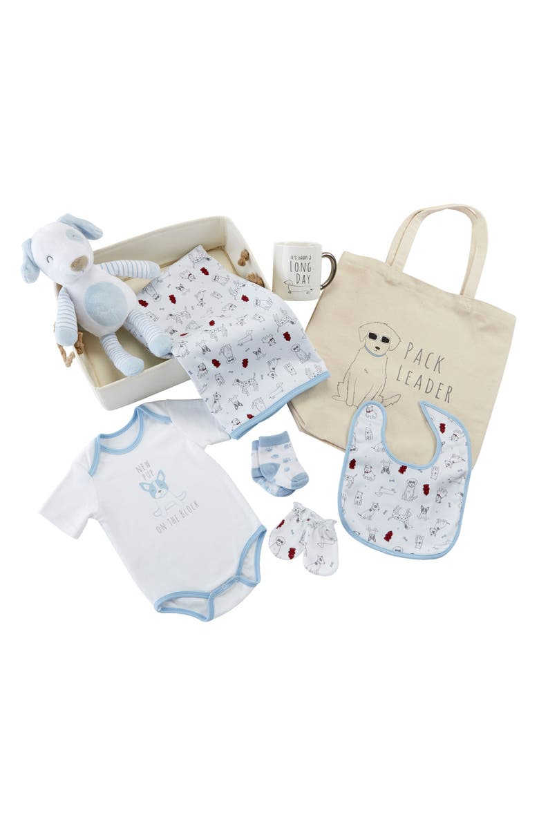 BABY ASPEN New Pup 9-Piece Baby Gift Set, Main, color, BLUE