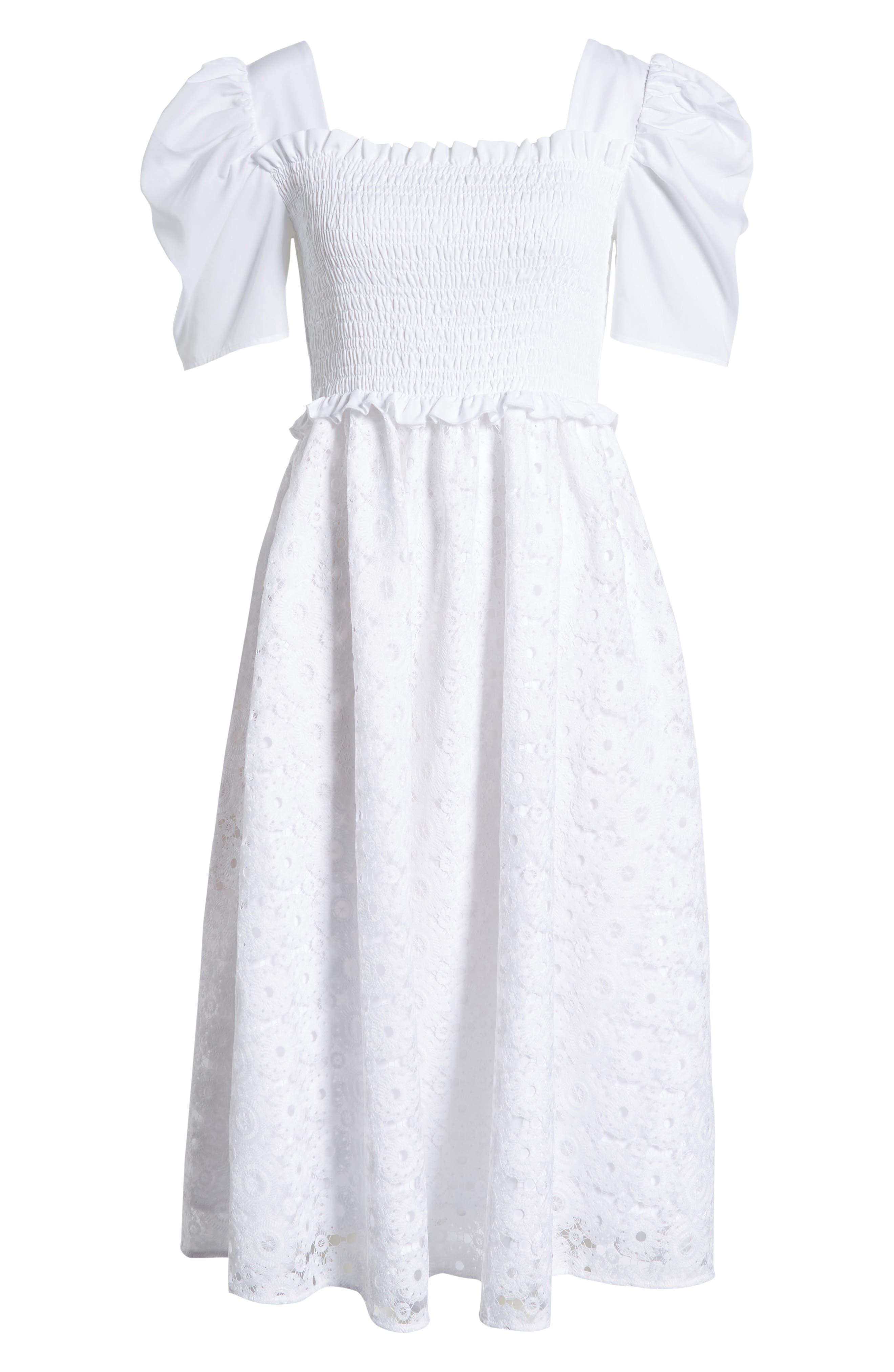,                             Smocked Waist A-Line Dress,                             Alternate thumbnail 7, color,                             WHITE