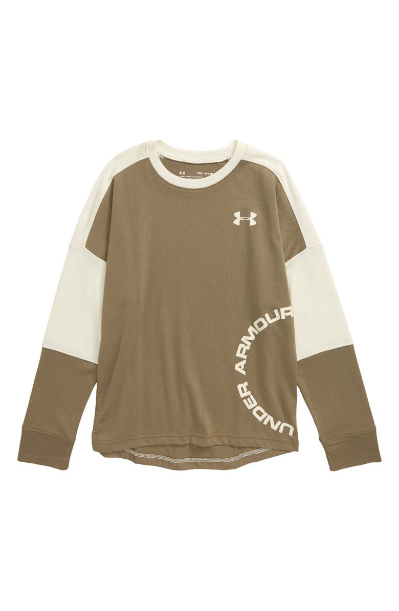 UNDER ARMOUR Sportstyle HeatGear<sup>®</sup> Colorblock T-Shirt, Main, color, OUTPOST GREEN/ BUTTER WHITE