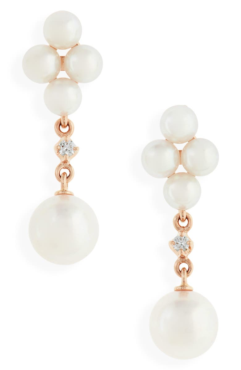 MIKIMOTO Pearl & Diamond Drop Earrings, Main, color, ROSE GOLD