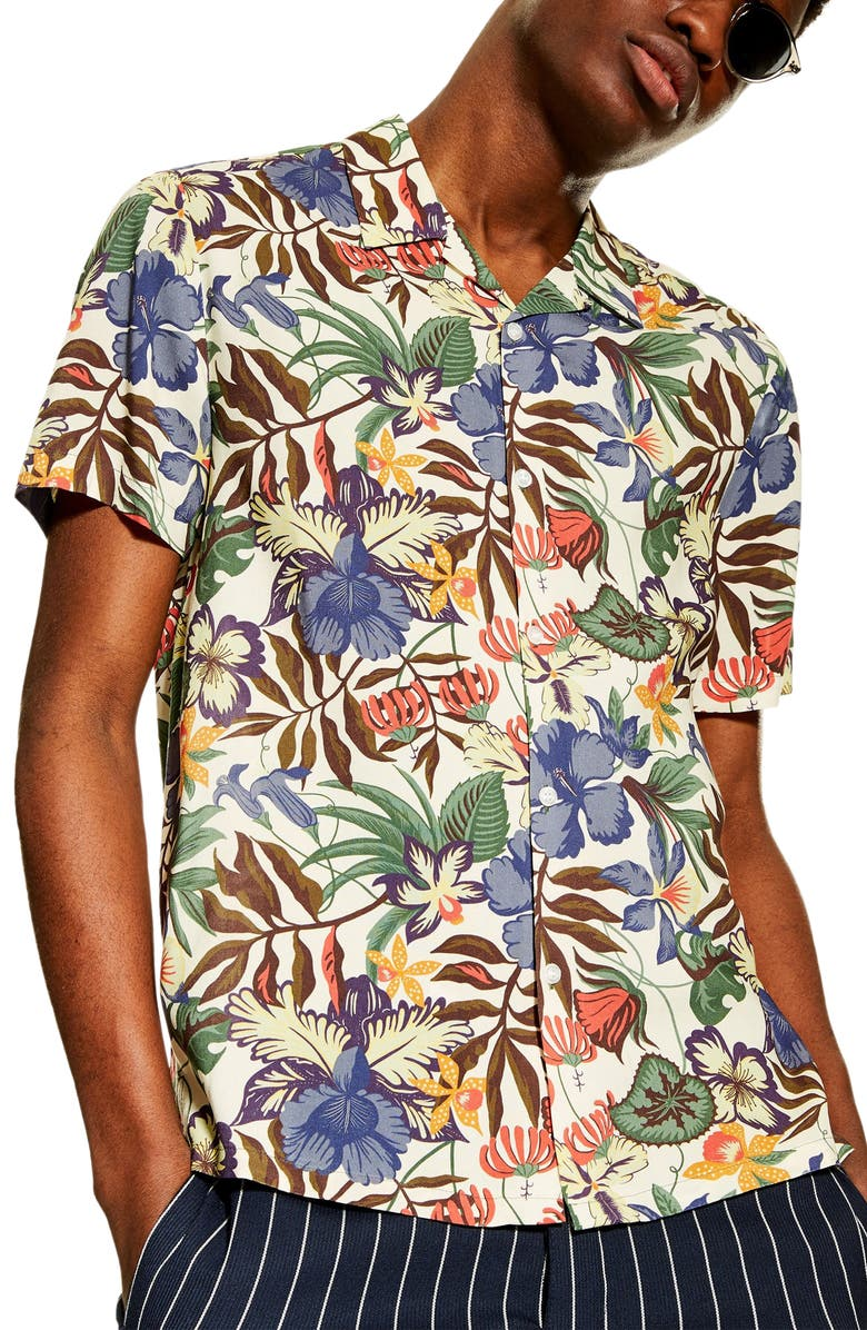 TOPMAN Tropical Print Short Sleeve Button-Up Camp Shirt, Main, color, STONE MULTI