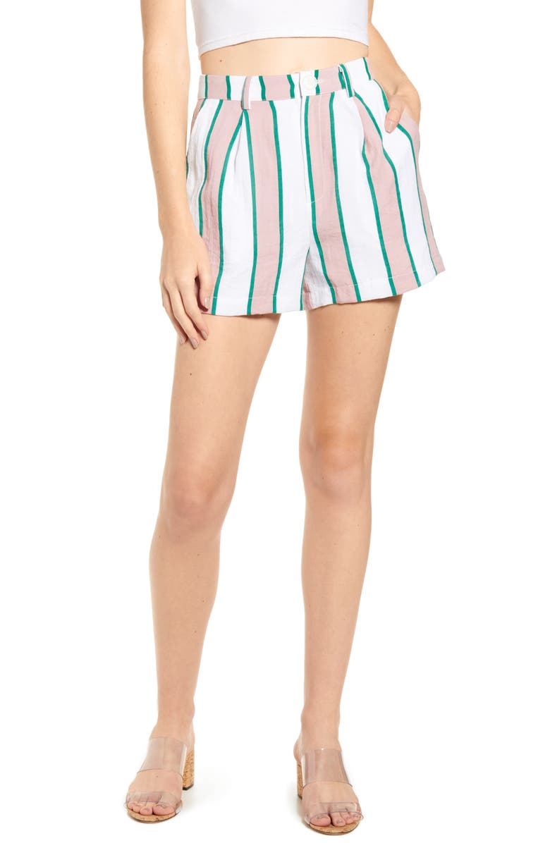 ENGLISH FACTORY High Waist Pleated Shorts, Main, color, MULTI