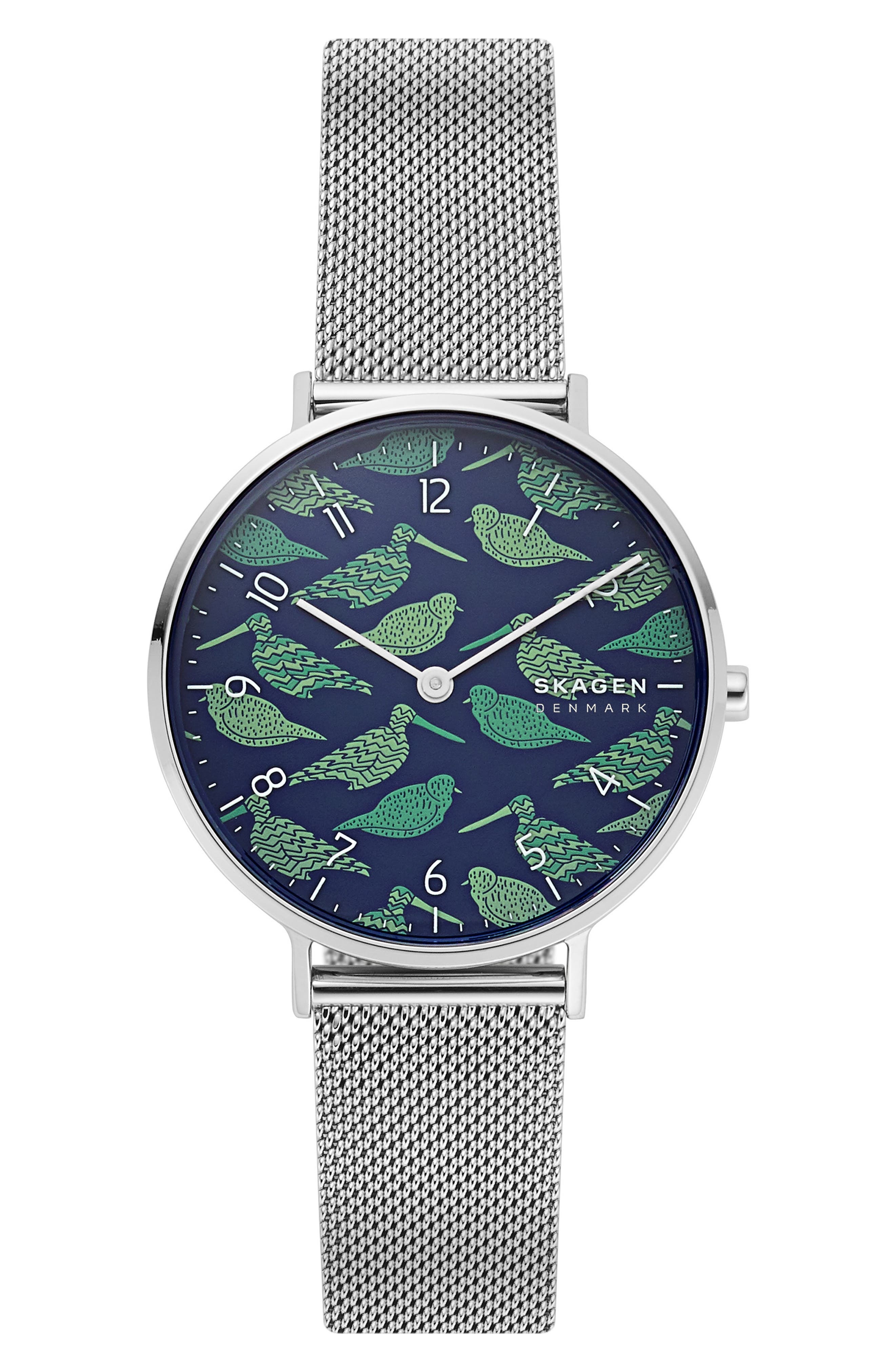 women's skagen aaren bird dial mesh strap watch, 36mm