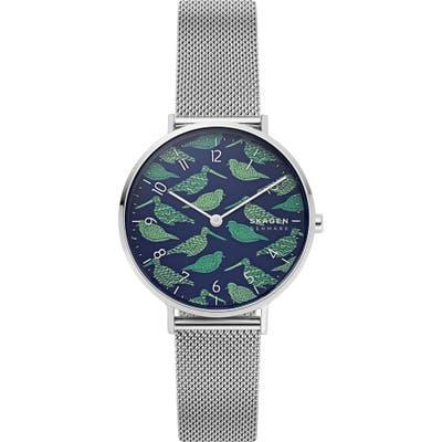 Skagen Aaren Bird Dial Mesh Strap Watch,