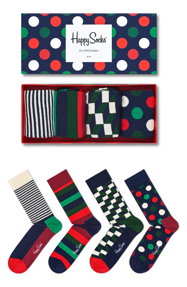 HAPPY SOCKS Big Dot Holiday Gift Box 4-Pack Socks, Main, color, 616