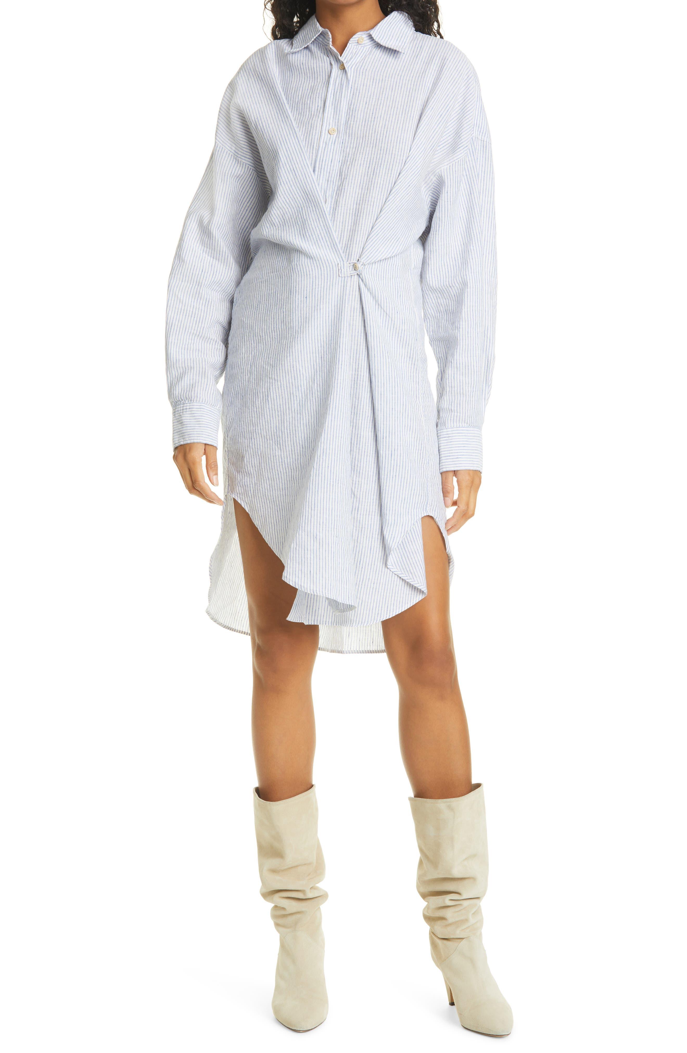Women's Isabel Marant Etoile Seen Stripe Long Sleeve Cotton & Linen Shirtdress
