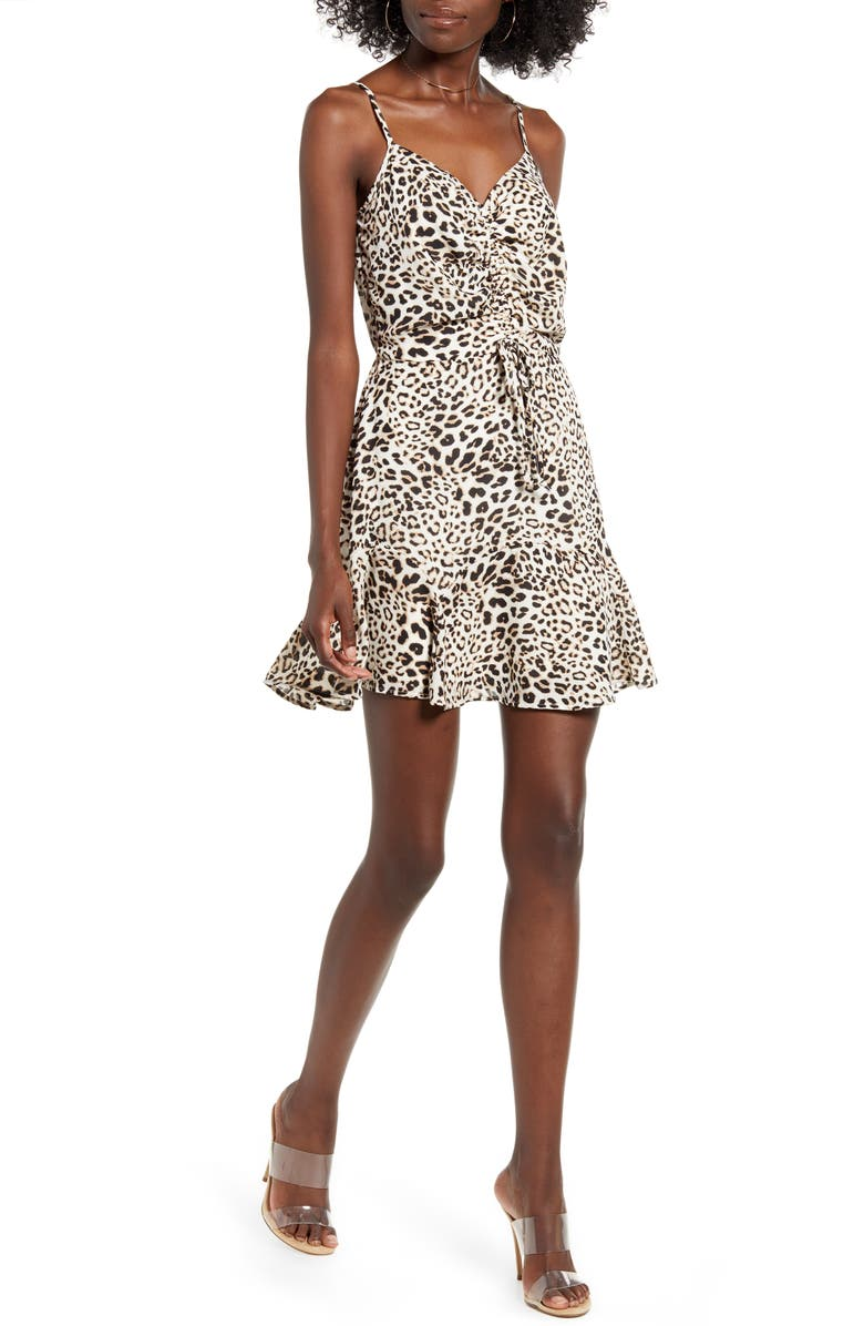 ROW A Cinch Front Minidress, Main, color, LEOPARD
