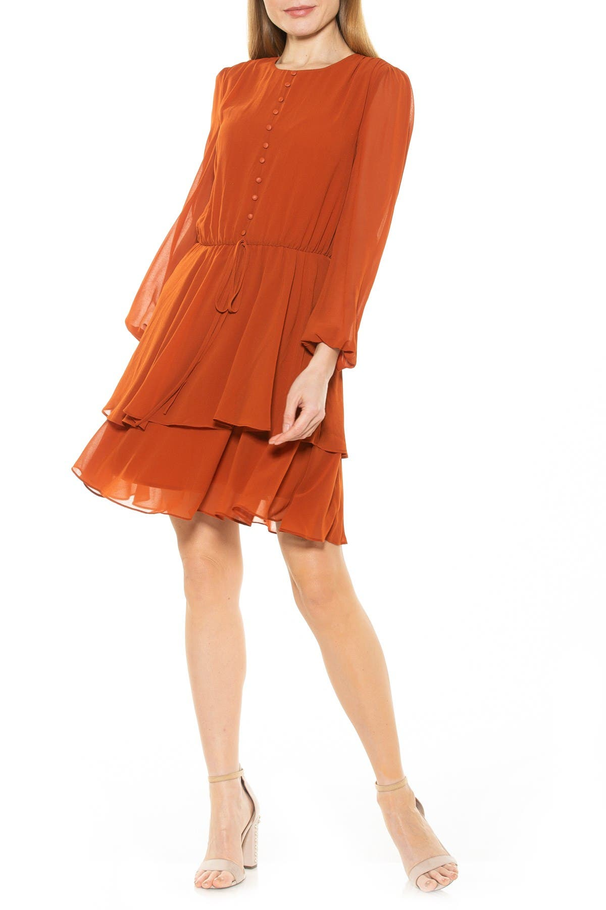 Image of Alexia Admor Balia Dropped Waist Ruffle Dress