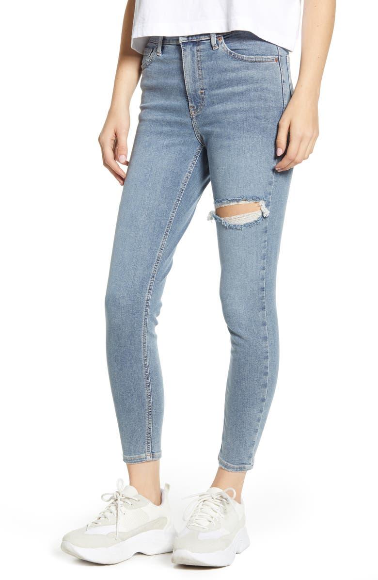 TOPSHOP Jamie High Waist Ripped Knee Raw Hem Jeans, Main, color, BLEACH