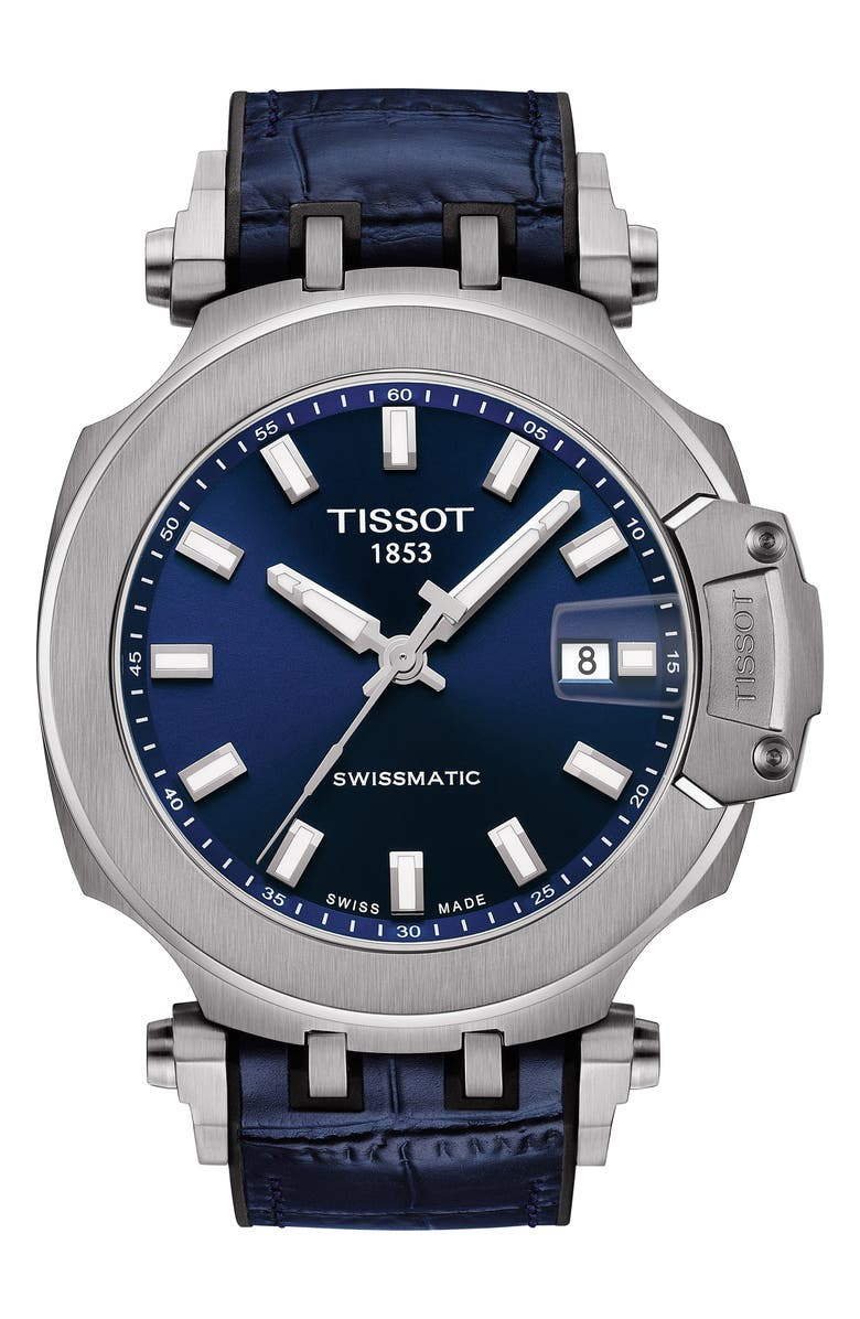 TISSOT T-Sport Automatic Leather Strap Watch, 48mm, Main, color, BLUE/ SILVER