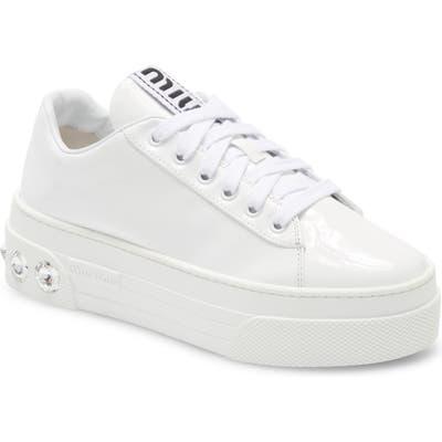 Miu Miu Crystal Skate Sneaker, White