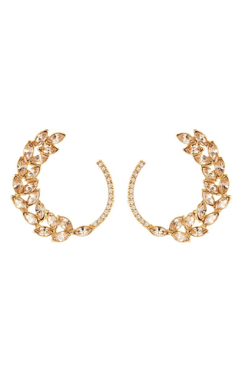 OSCAR DE LA RENTA Navette & Pavé Hoop Earrings, Main, color, 710