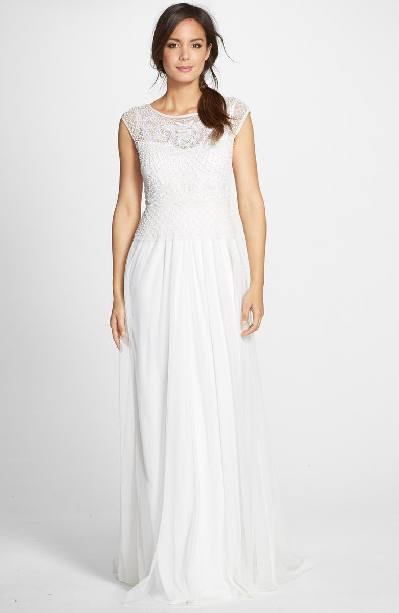 ADRIANNA PAPELL Beaded Cap Sleeve Gown, Main, color, 901