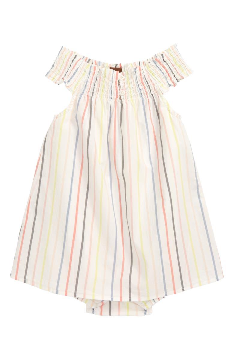 TEA COLLECTION Stripe Smocked Romper Dress, Main, color, PAPERWHITE