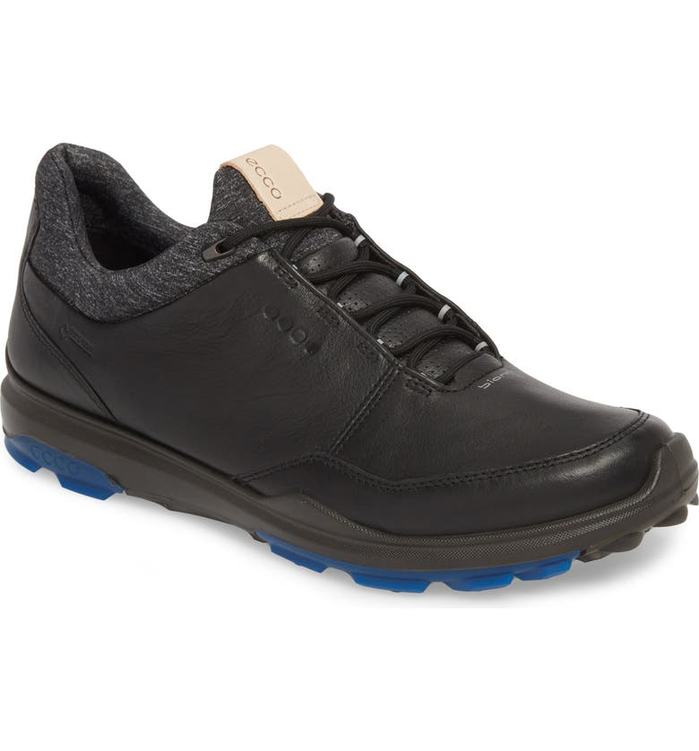 ECCO BIOM Hybrid 3 Gore-Tex<sup>®</sup> Golf Shoe, Main, color, BLACK/ BERMUDA BLUE LEATHER
