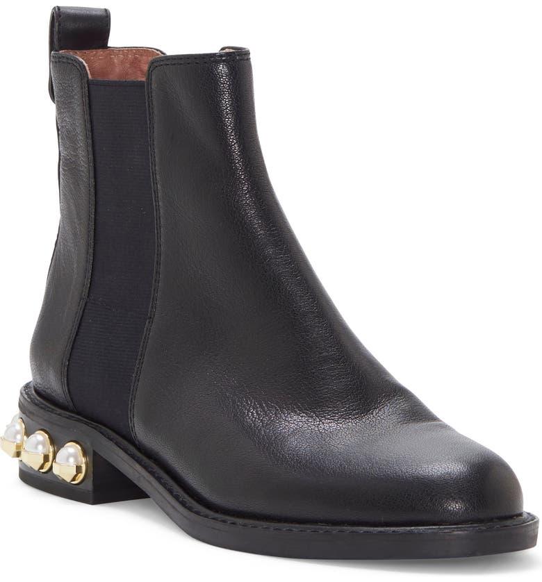 LOUISE ET CIE Valtina Chelsea Boot, Main, color, BLACK LEATHER