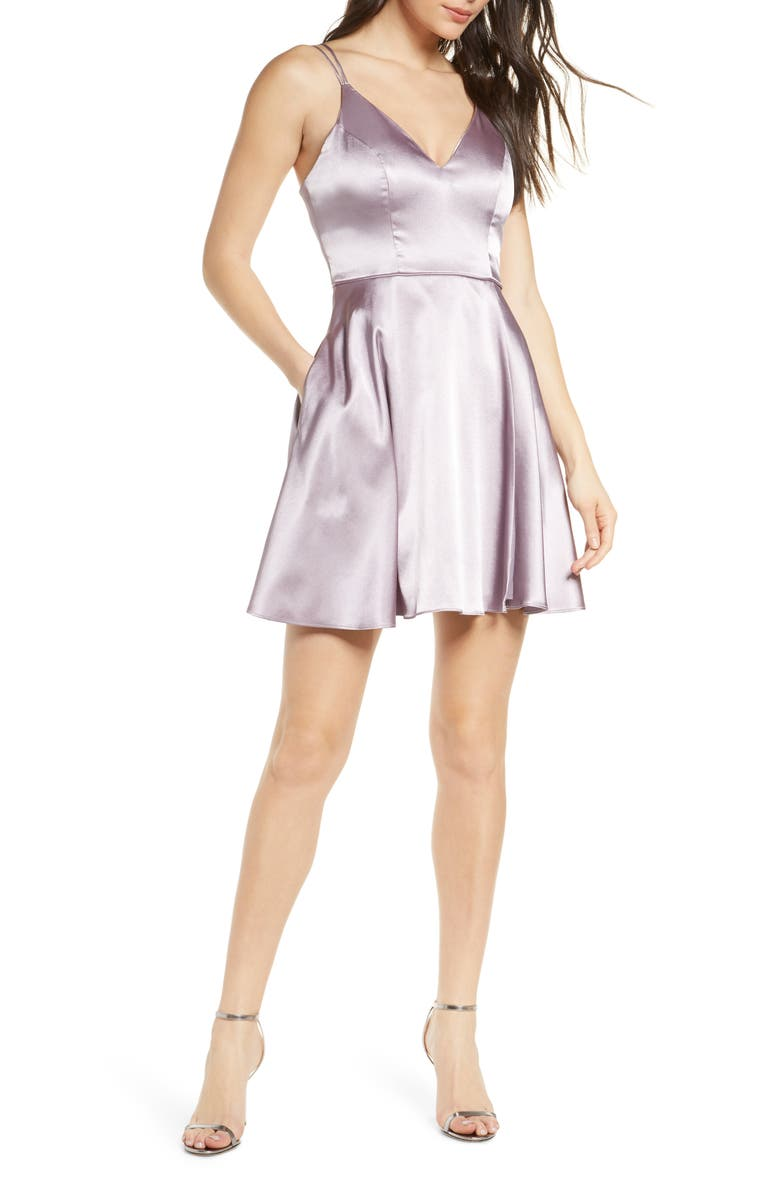SEQUIN HEARTS Strappy Satin Fit & Flare Minidress, Main, color, 564