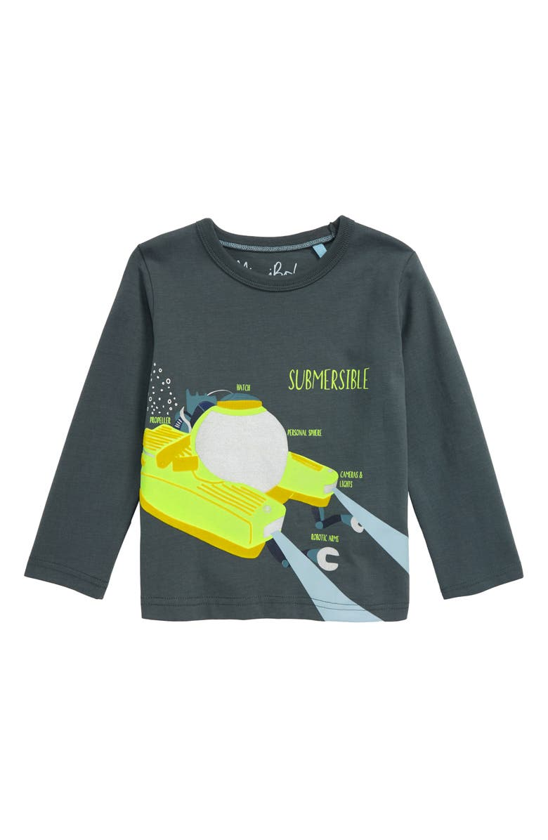 MINI BODEN Flocked Submersible Long Sleeve Graphic Tee, Main, color, 024
