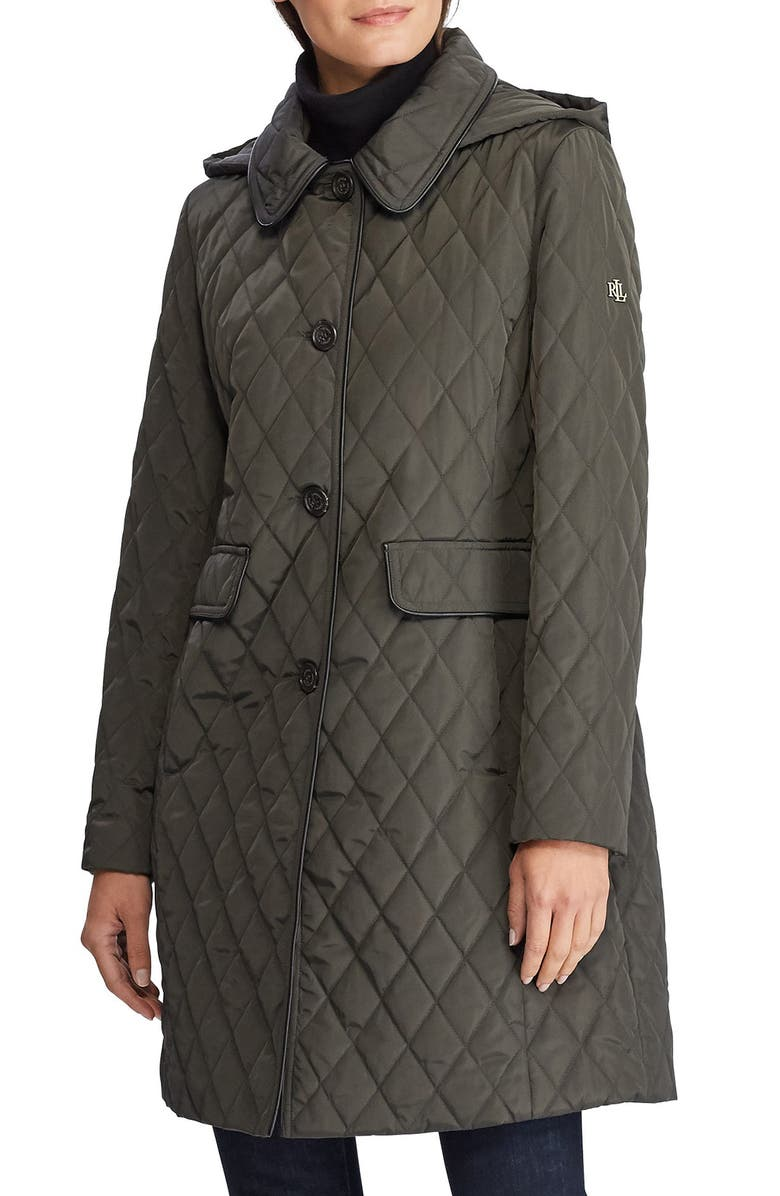 LAUREN RALPH LAUREN Quilted Coat with Hood, Main, color, DARK MOSS