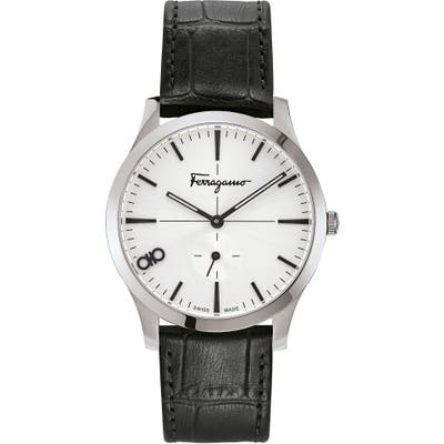Salvatore Ferragamo Slim Leather Strap Watch, 40Mm