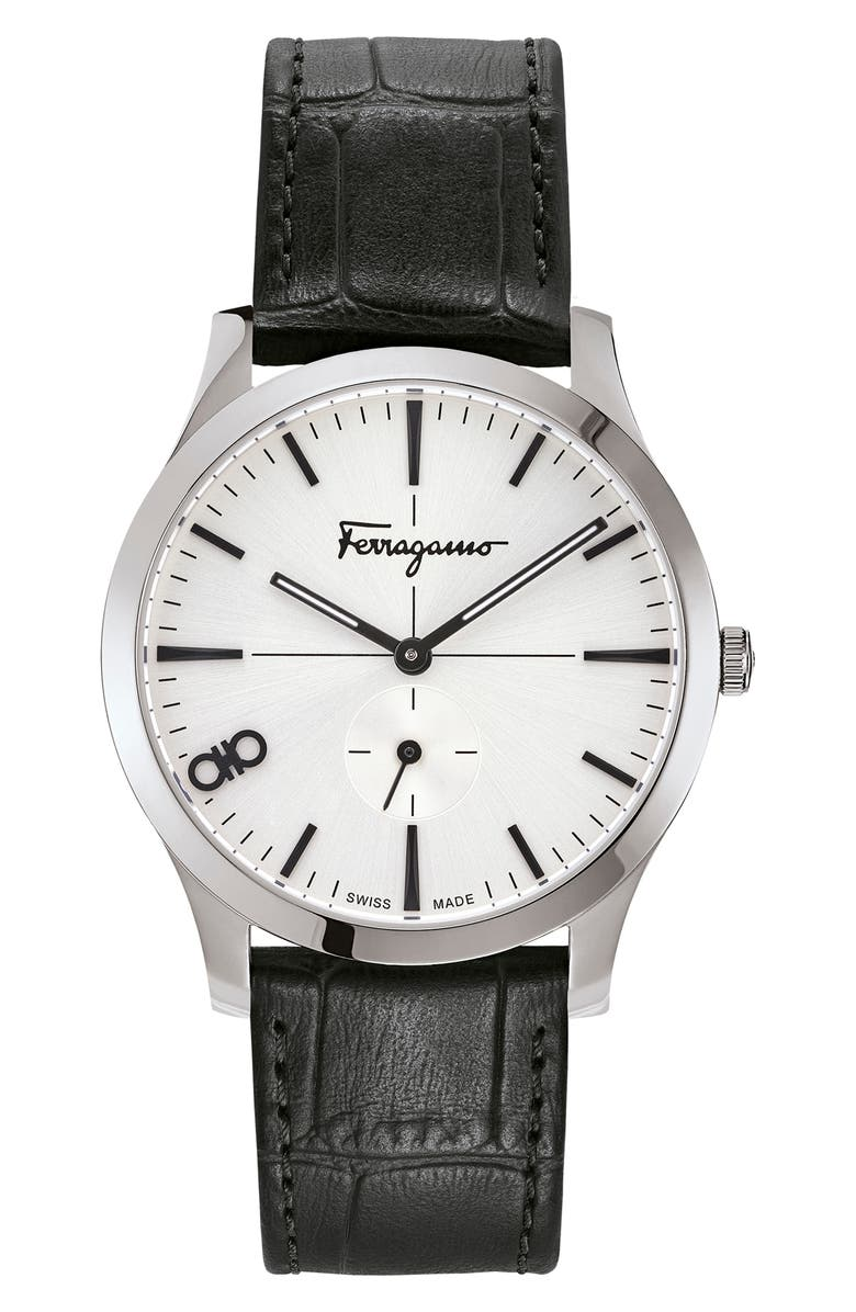 SALVATORE FERRAGAMO Slim Leather Strap Watch, 40mm, Main, color, BLACK/ SILVER SUNRAY