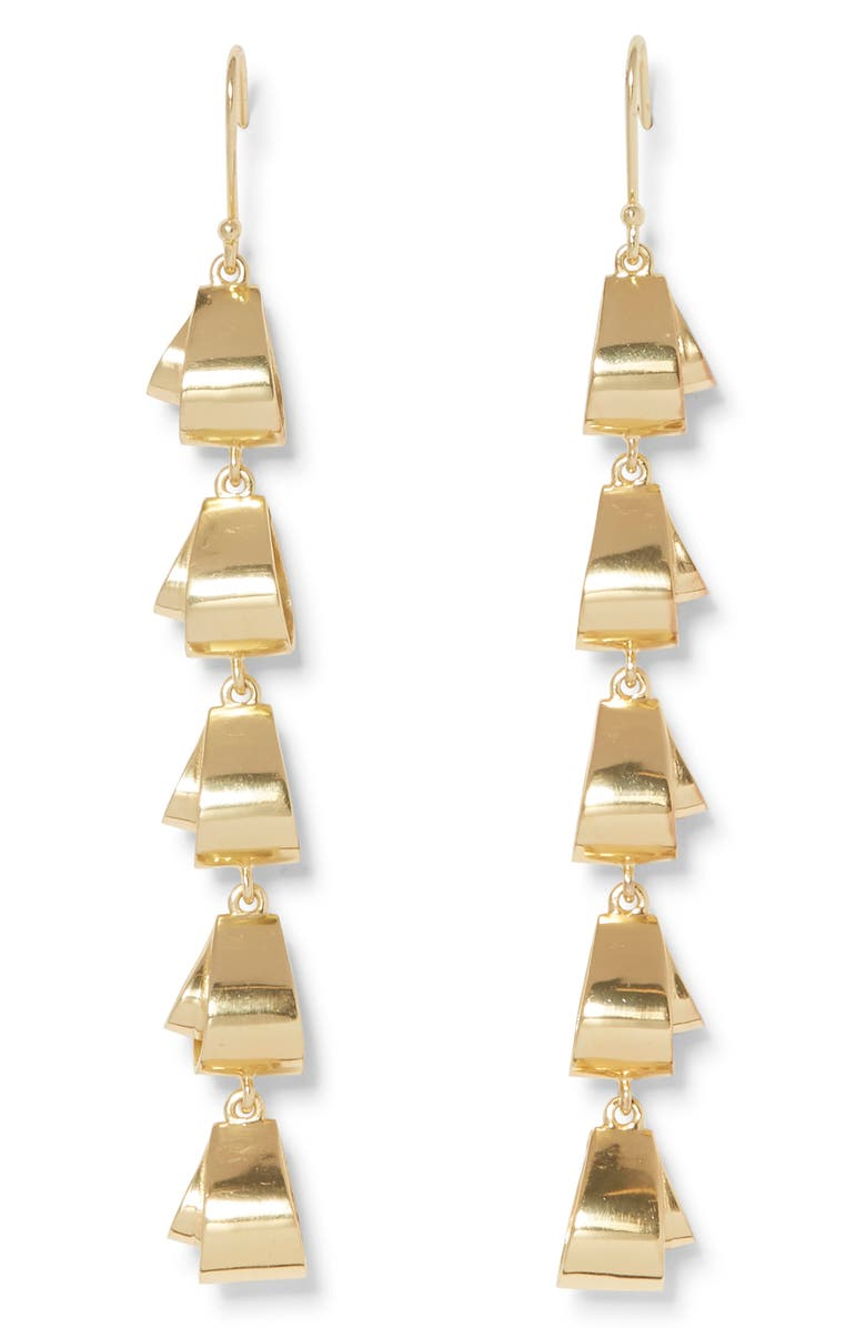 SOLE SOCIETY Linear Drop Earrings, Main, color, 12K SOFT POLISH GOLD