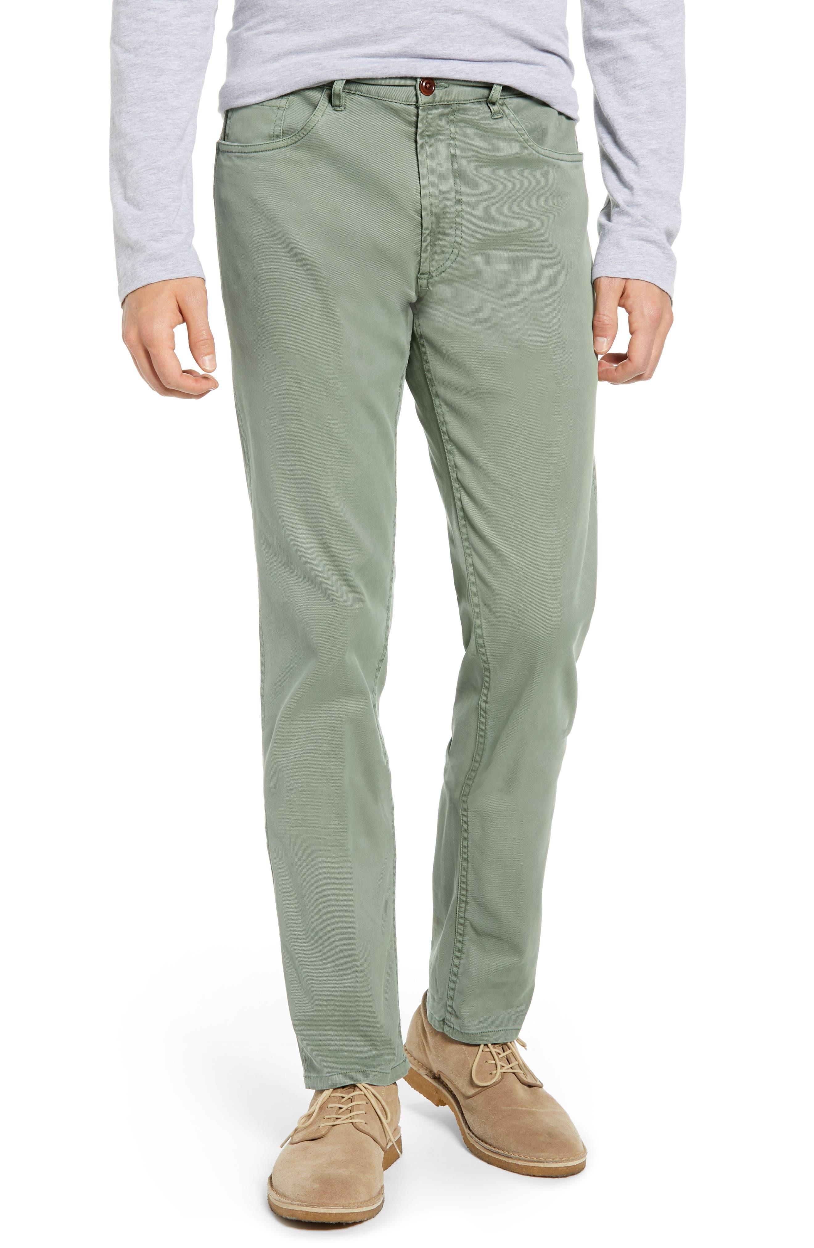 Faherty Comfort Twill Straight Leg Five-Pocket Pants, Green