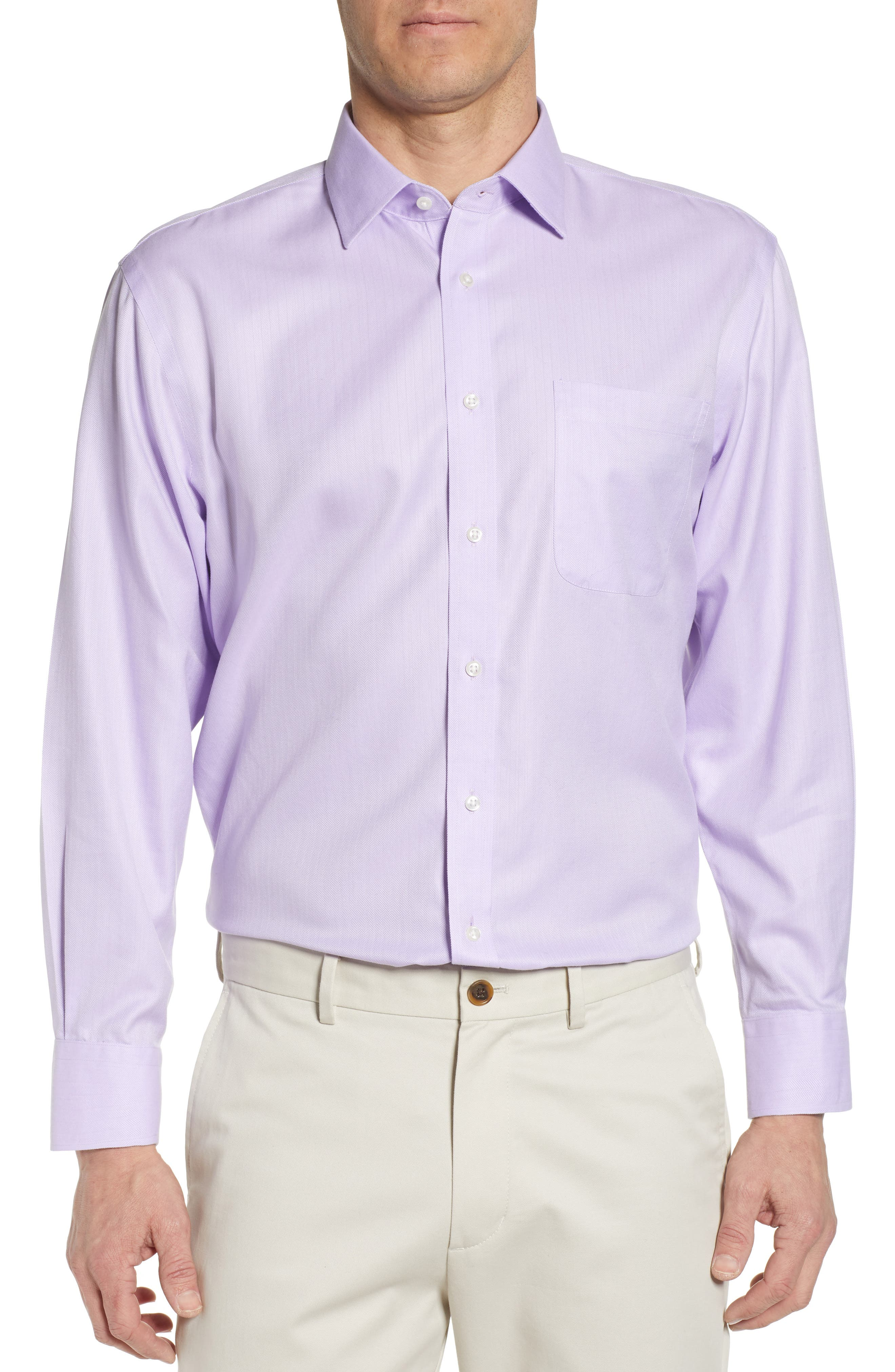 Nordstrom Shop Smartcare(TM) Traditional Fit Herringbone Dress Shirt - Purple