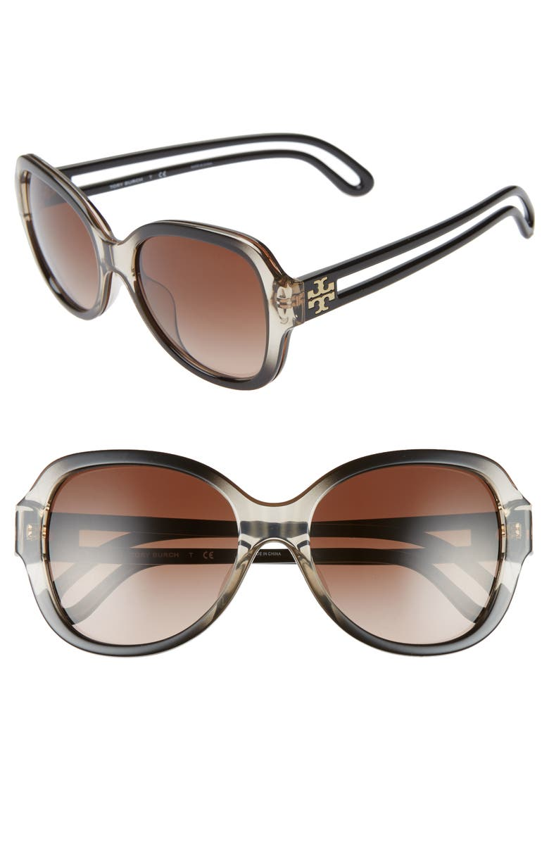 TORY BURCH 55mm Gradient Butterfly Sunglasses, Main, color, 020