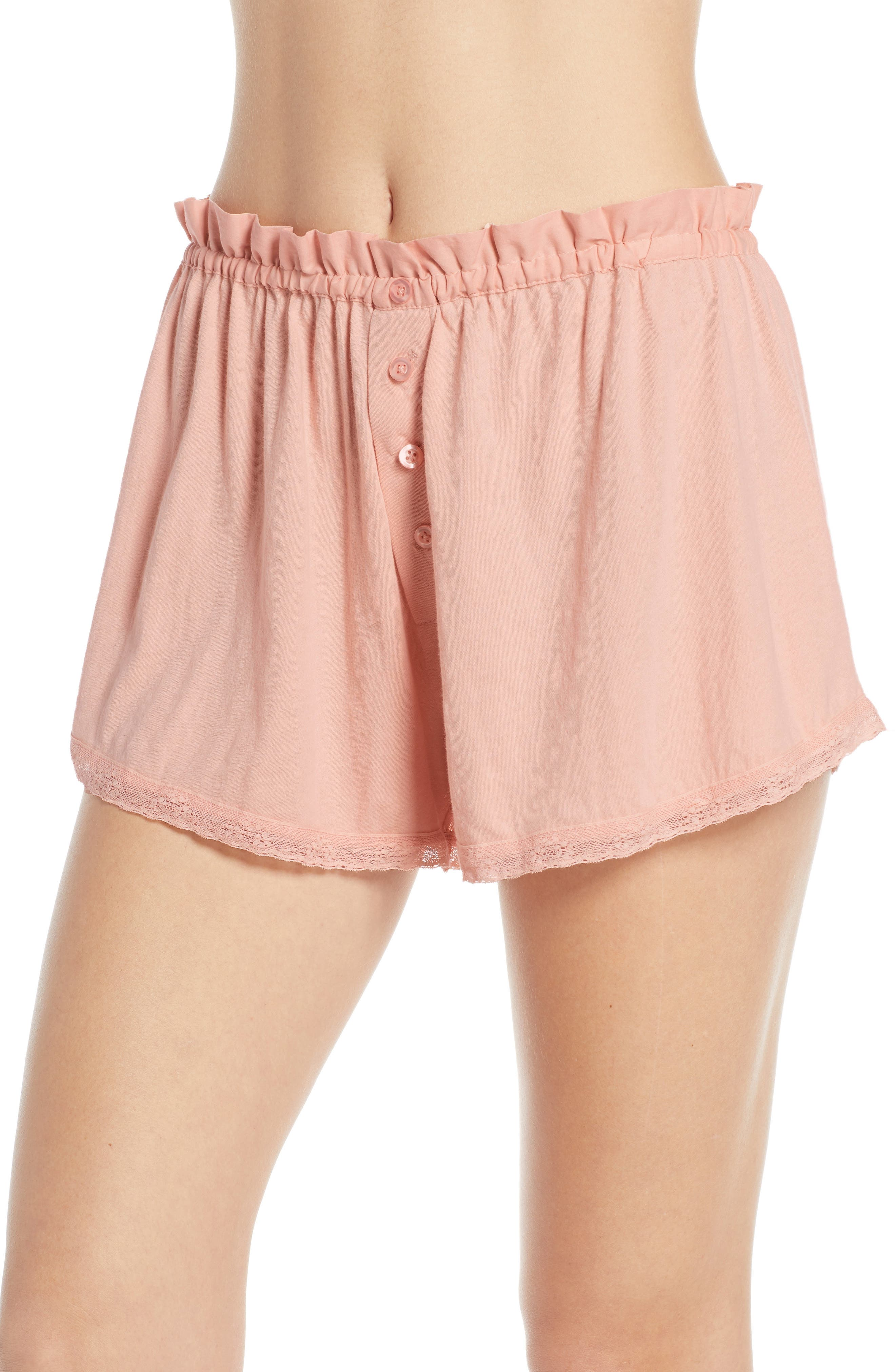 The Great. The Lace Pajama Shorts, Pink