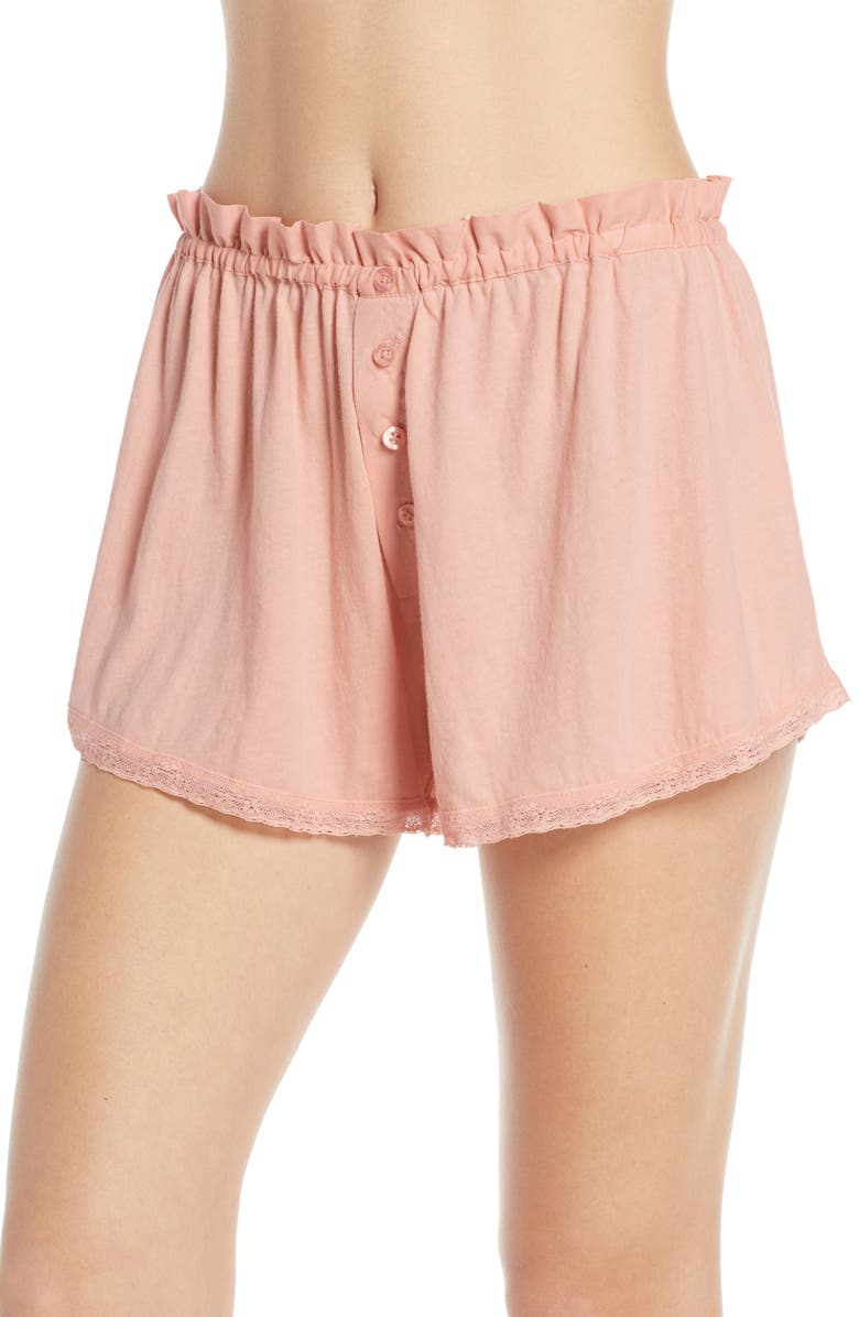 THE GREAT. The Lace Pajama Shorts, Main, color, ROSE DUST